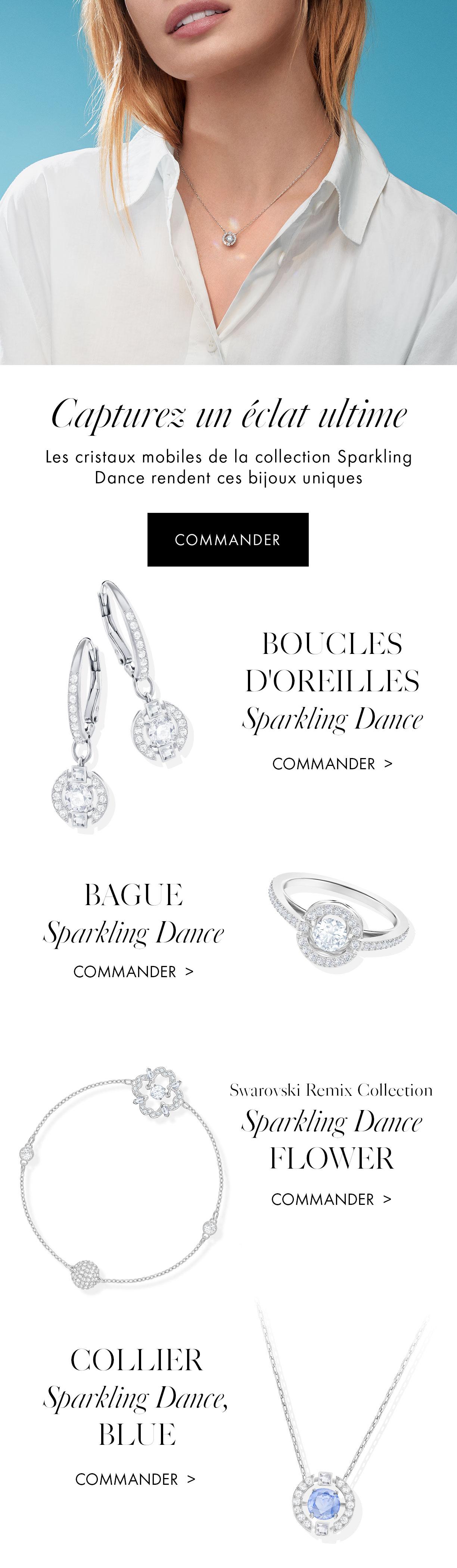 Les cristaux mobiles de la collection Sparkling Dance rendent ces bijoux uniques.