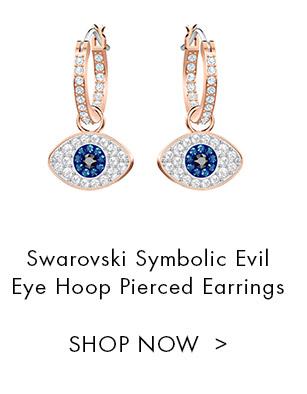Swarovski Symbolic Evil Eye Hoop Pierced Earrings